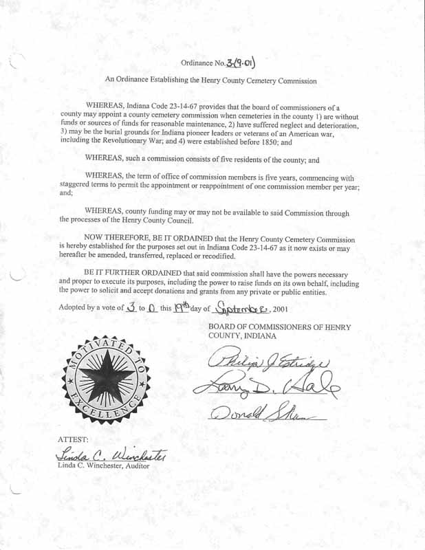 Henry County Indiana Ordinance 3-(9-01)